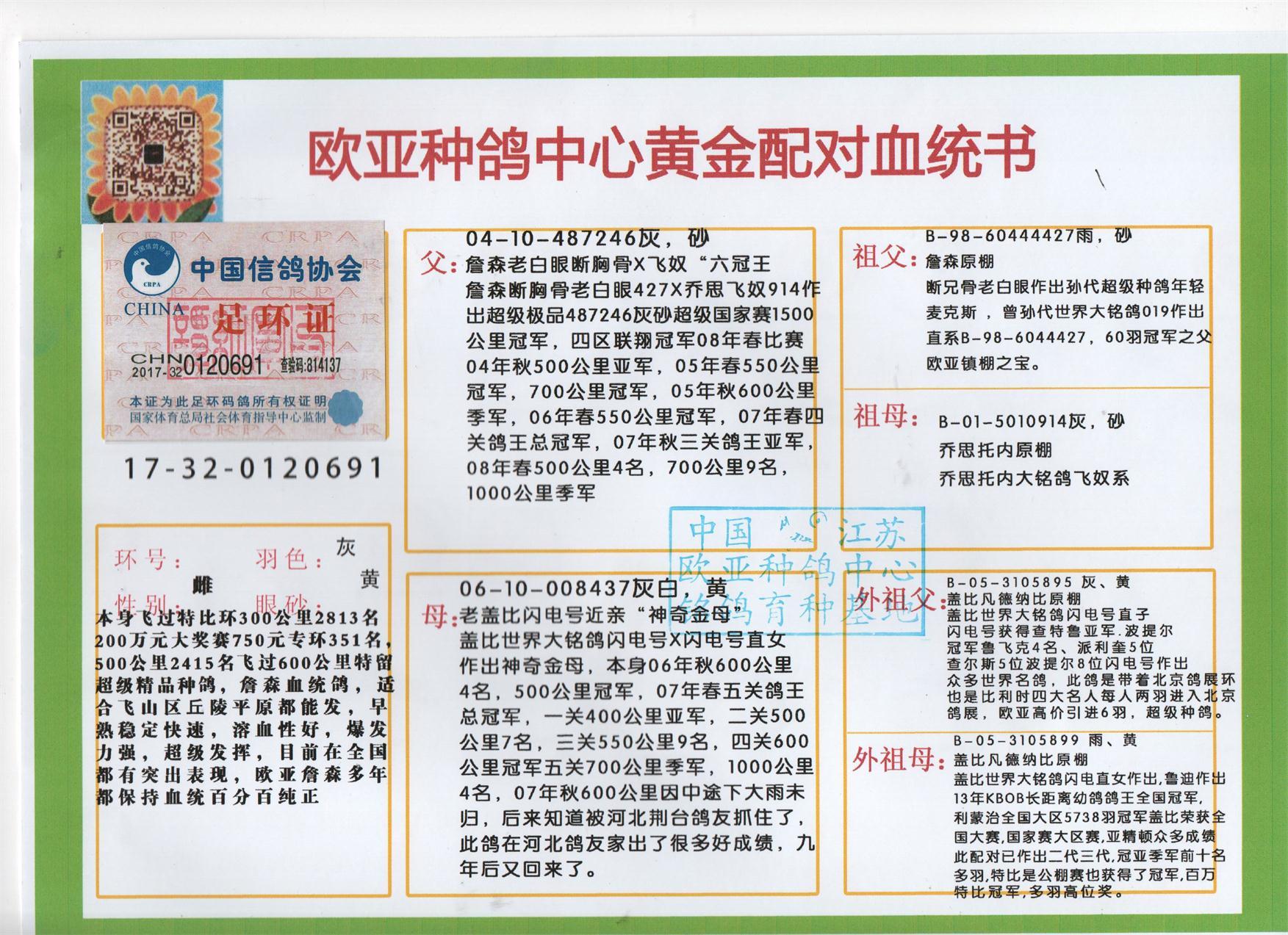 感谢欧亚支援优良种鸽内蒙古包头市 赵林萨使翔   今年秋平辈地方赛